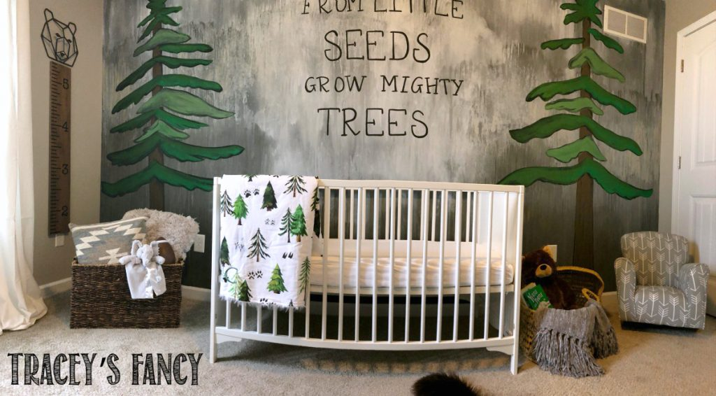 Woodland Trees Nursery - Rain Washed Mural by Tracey's Fancy