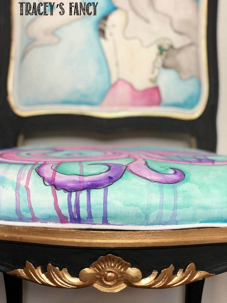 Whimsical Watercolor Mermaid Chair by Tracey's Fancy