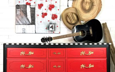 A red whimsical dresser to brighten any room