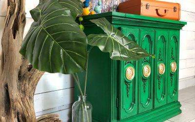Green buffet table using only TWO products