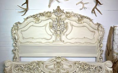 Rococo bed in a neutral-but-fancy finish