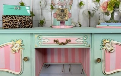 Whimsical ombre painted vanity with a matching surprise