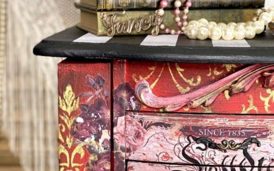 Red jewelry armoire with the perfect design transfer