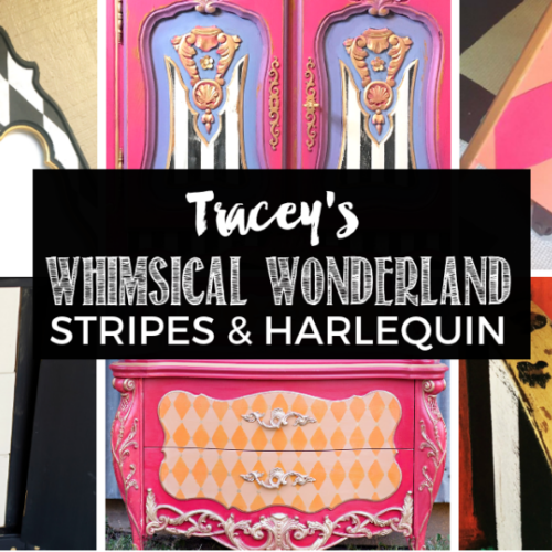 Tracey's Fancy Stripes & Harlequin Furniture Painting Tutorial