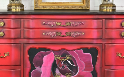 Romance and Roses: hand painted red rose buffet