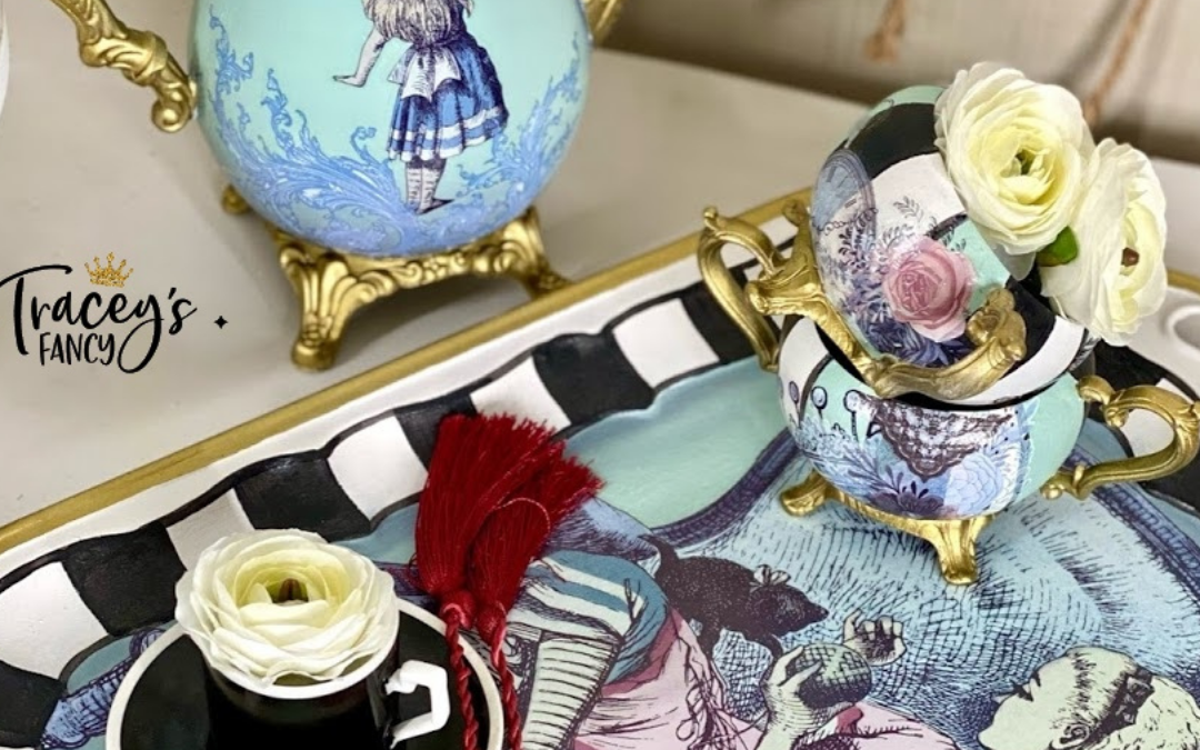 Whimsical Tea Set with Alice in Wonderland