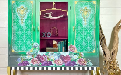 green china cabinet with floral and lace