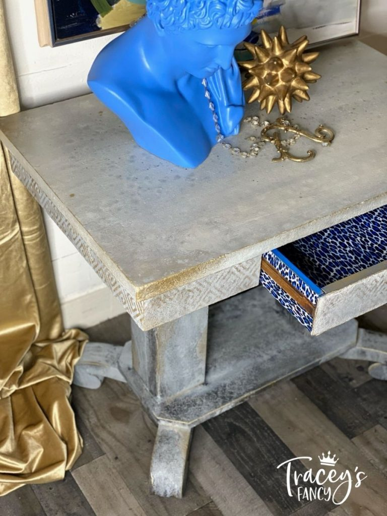Turn that plain, beat up wooden table into a concrete, old world, color washed centerpiece. Wooden faux stone table or kitchen island?