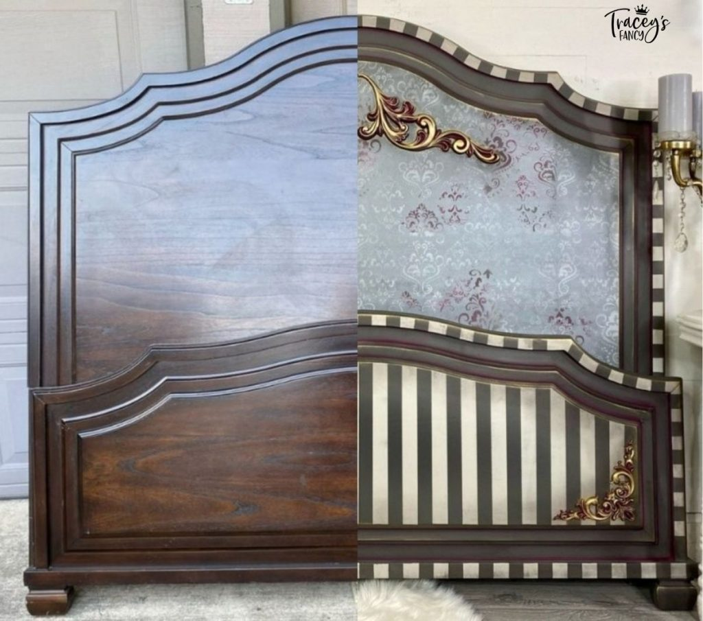 Victorian Damask Queen Bed before and after